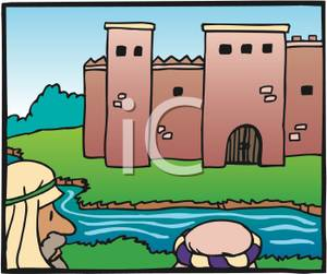 Moat clipart picture royalty free Clipart Image: Peasant Men Looking At a Castle From Across a ... picture royalty free