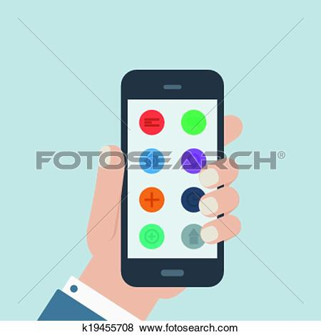 Mobile app clipart royalty free library Clip Art of flat app phone hold in hand k19455708 - Search Clipart ... royalty free library