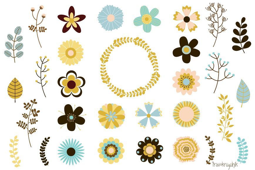 Mod flowers clipart vector black and white library Wedding flowers clipart, Mod retro floral clip art vintage vector black and white library