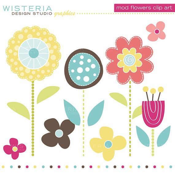 Mod flowers clipart image library stock Mod Flowers Clip Art INSTANT DOWNLOAD by ... image library stock