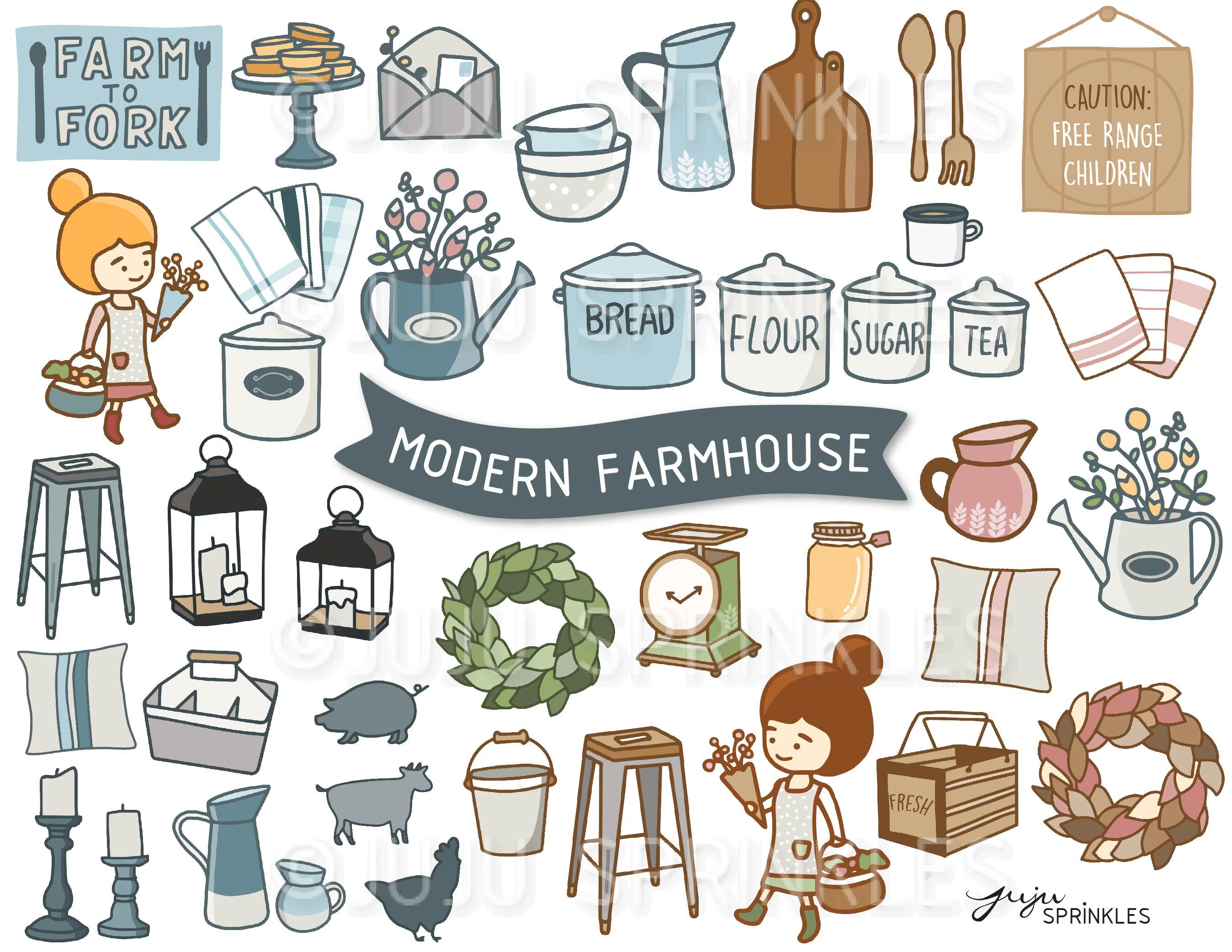 Modern clipart vector Modern Farmhouse Clipart and Sticker Set vector