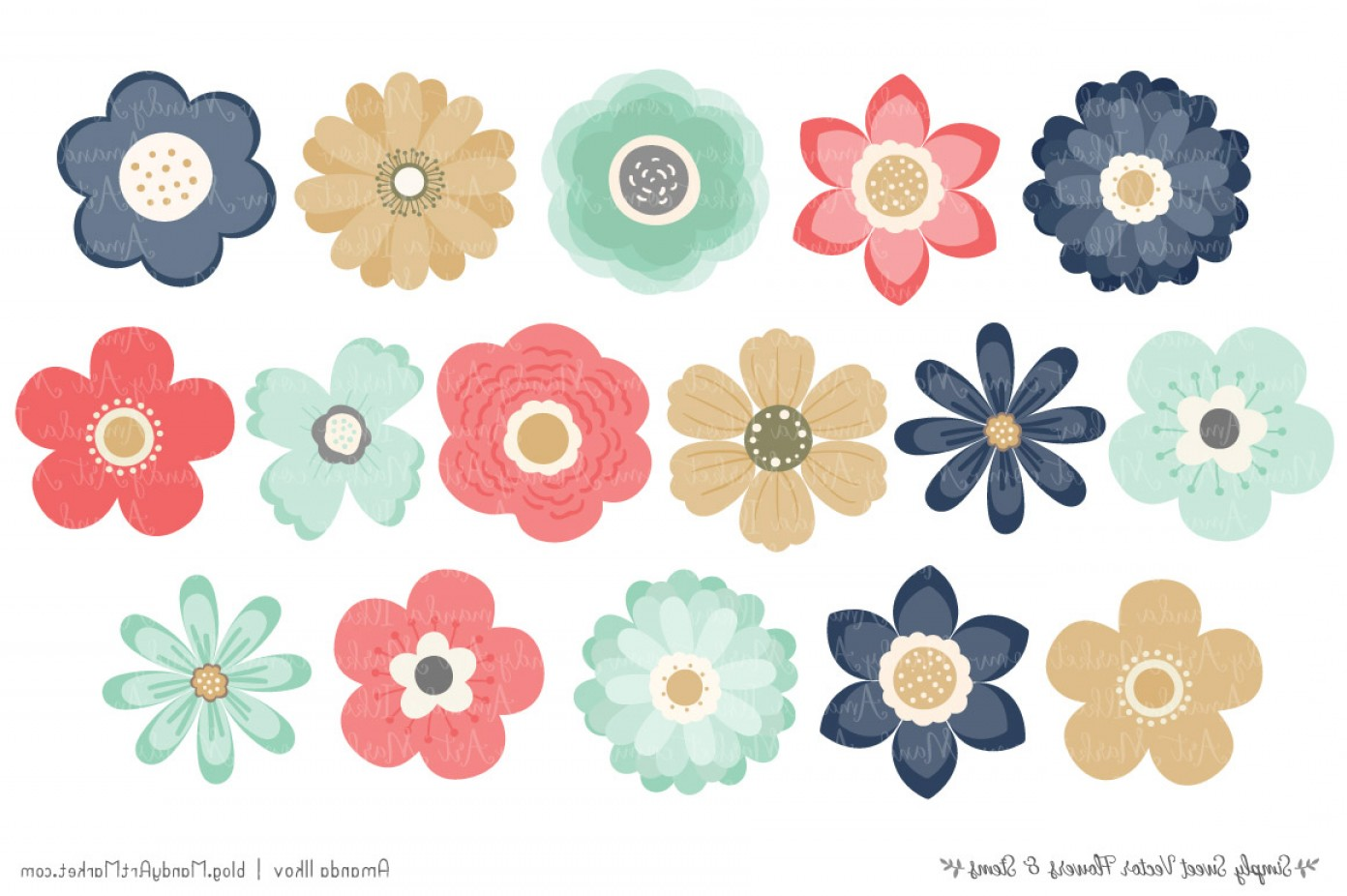 Modern clipart flowers graphic transparent stock Simply Sweet Vector Flowers And Stems Clipart In Modern Chic ... graphic transparent stock