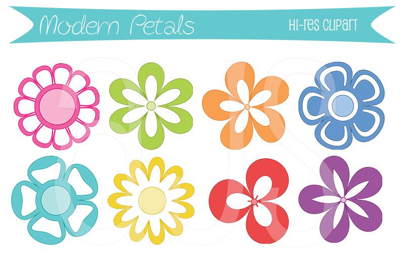 Modern clipart flowers picture transparent library Modern Petals Flower Clipart | Avery James Studio | Clip art ... picture transparent library
