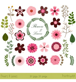 Modern clipart flowers vector royalty free Flower clipart, Retro Flowers, Modern flowers clip art in pink and brown vector royalty free