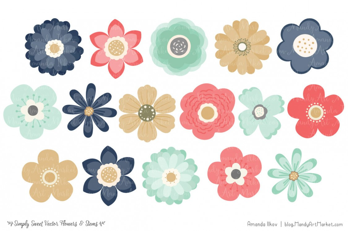 Modern clipart flowers clip art download Wildflower clipart modern flower – Pencil and in color .. clip art download