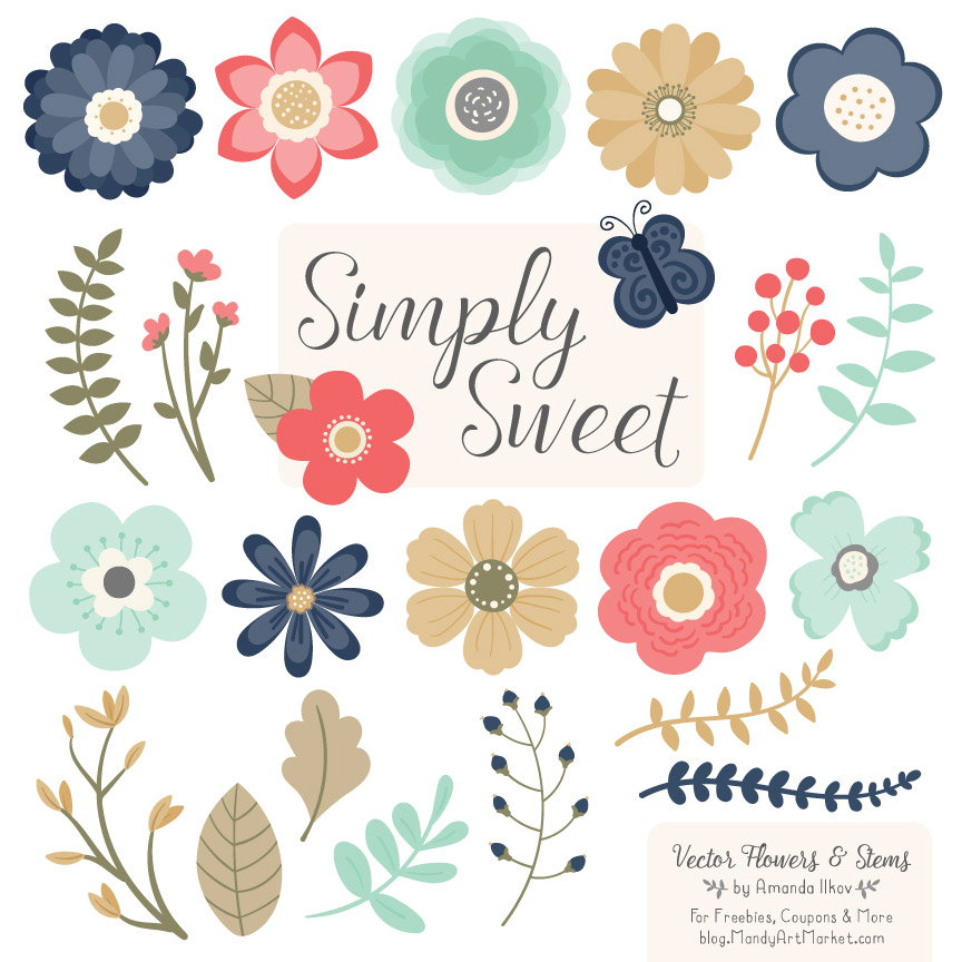 Modern clipart image free Modern Chic Flower Clipart image free