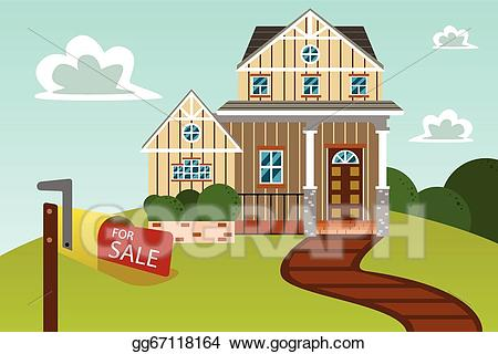 Modern home clipart clipart free download Vector Art - Modern home with for sale sign. EPS clipart ... clipart free download