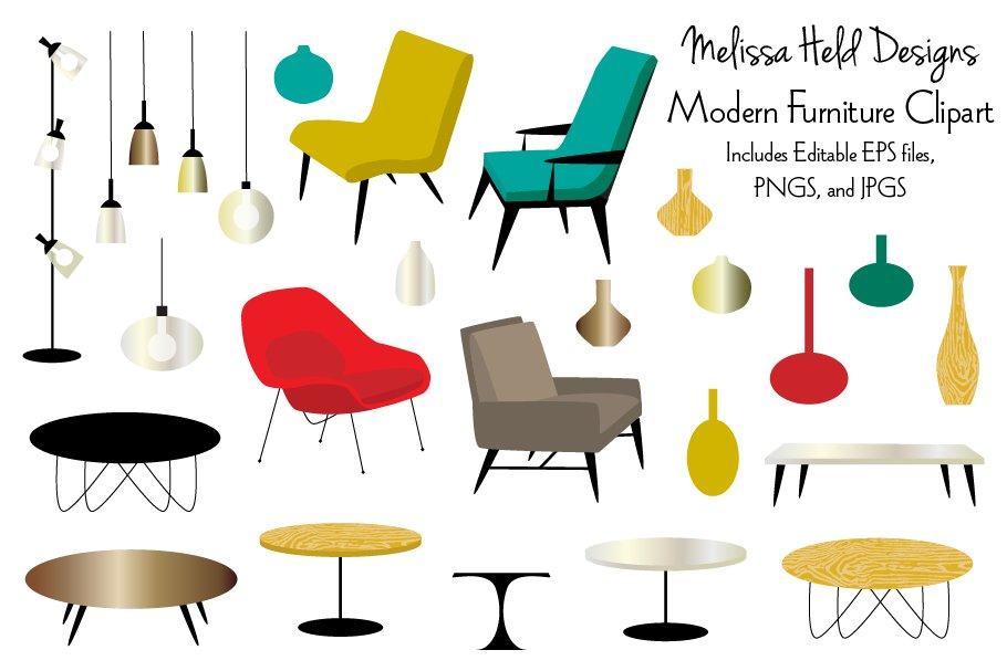 Modern table clipart svg Modern Furniture Clipart svg