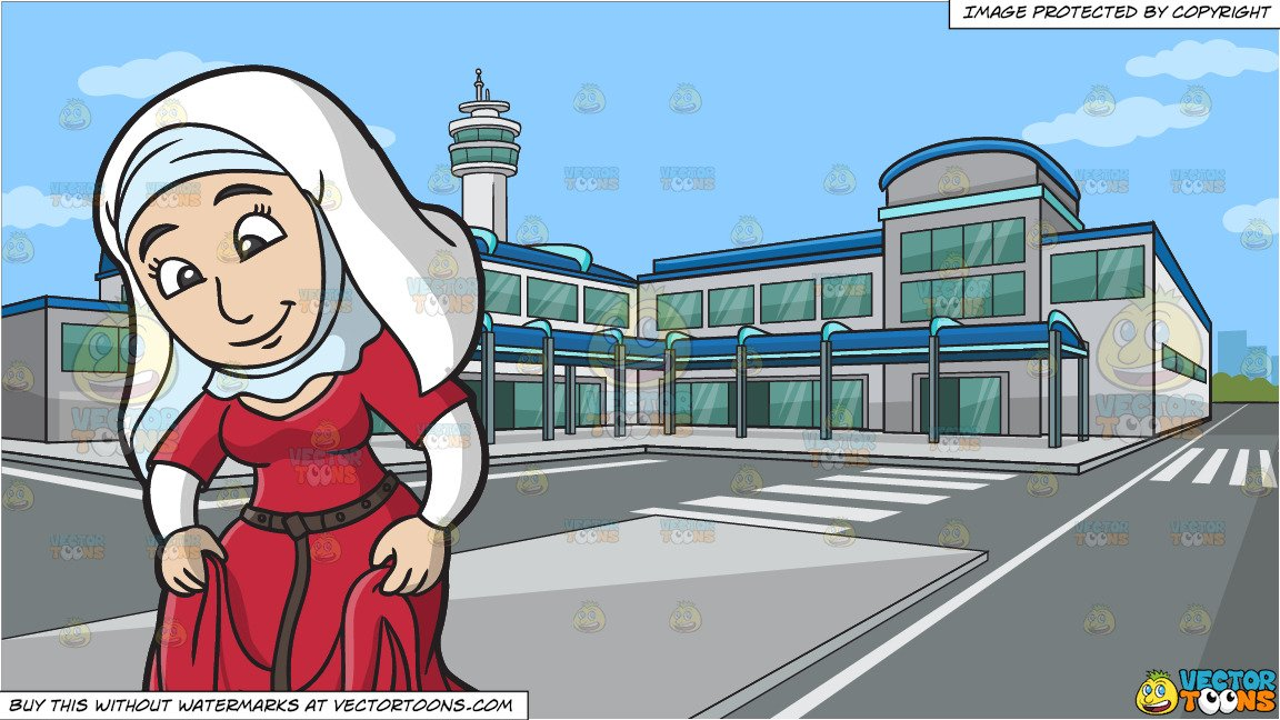 Modest asian woman clipart black and white banner transparent stock A Modest Medieval Woman and Outside An Airport Terminal Background banner transparent stock