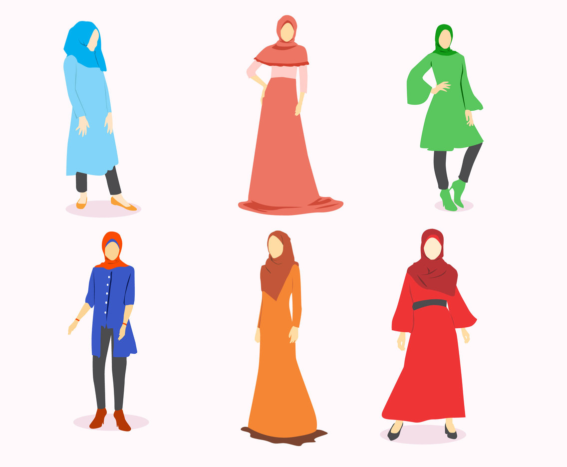 Modest asian woman clipart black and white vector Hijab Fashion Vector Vector Art & Graphics   freevector.com vector