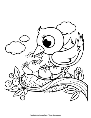 Mom and baby bird clipart black and white clip freeuse Baby Birds In Nest Coloring Pages clip freeuse