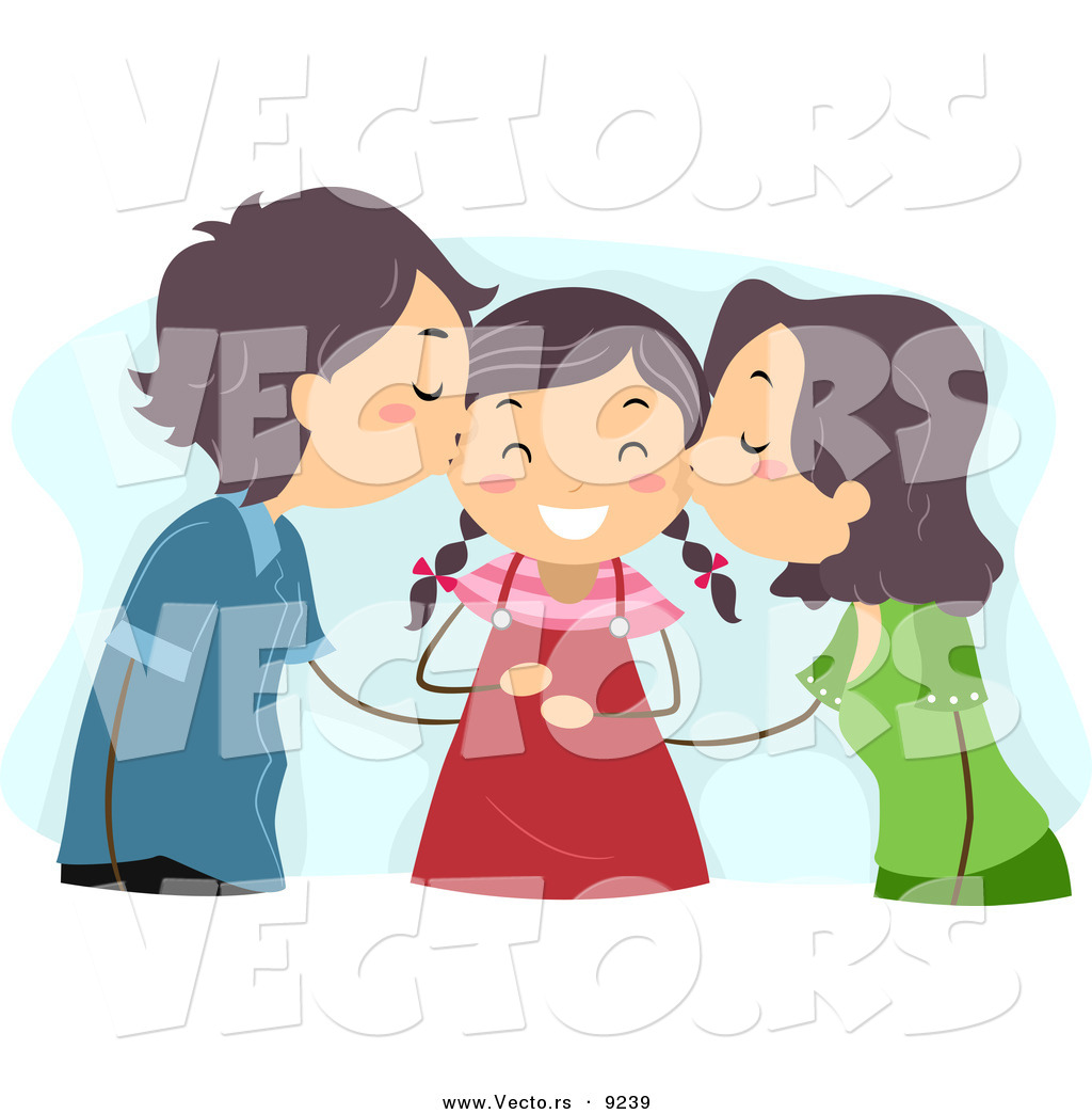 Mom and dad kisses clipart freeuse library Vector of Mom and Dad Kissing Their Happy Daughter on Her ... freeuse library