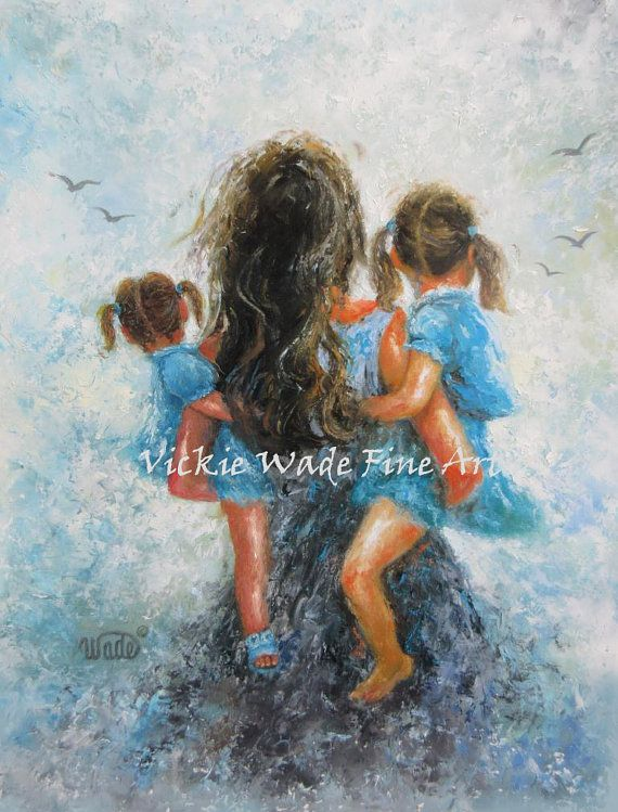 Mom and daughter at the fair clipart clip art transparent Mother Two Daughters Art Print mother by VickieWadeFineArt ... clip art transparent