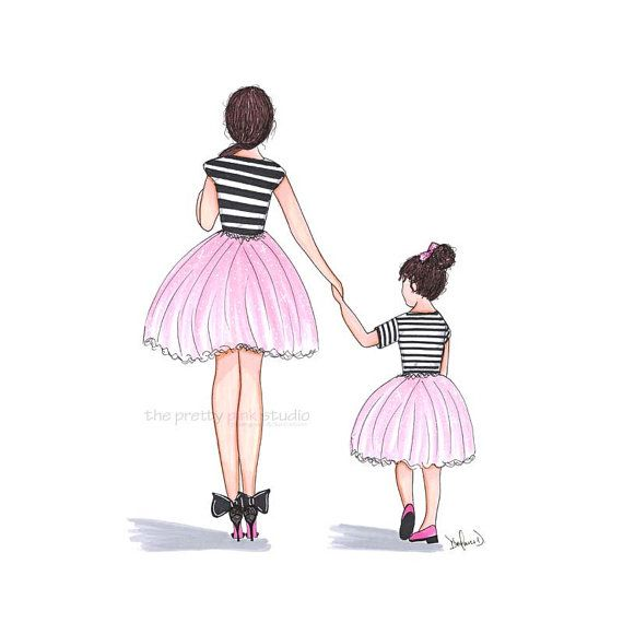 Mom and daughter at the fair clipart clipart free Fashion illustration - Mother daughter print, Mom and ... clipart free