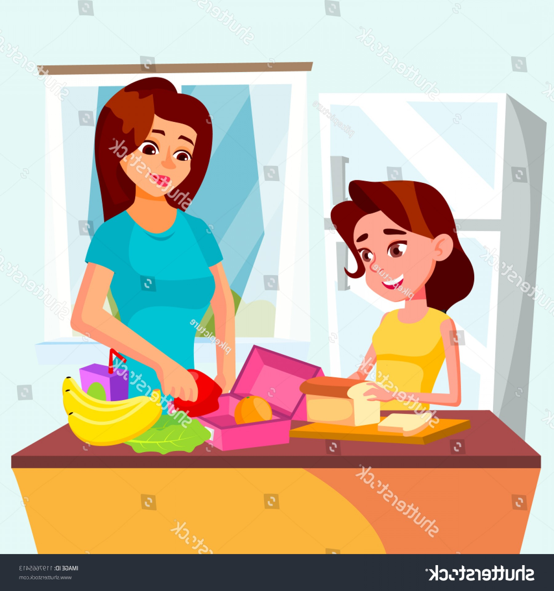 Mom and daughter baking clipart black and white picture library library Kitchen Vector Art | CataMart picture library library