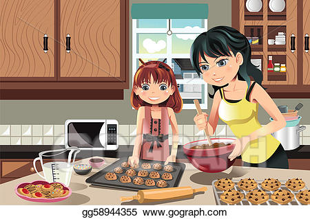 Mom and daughter baking clipart black and white picture free download EPS Vector - Mother daughter baking cookies. Stock Clipart ... picture free download