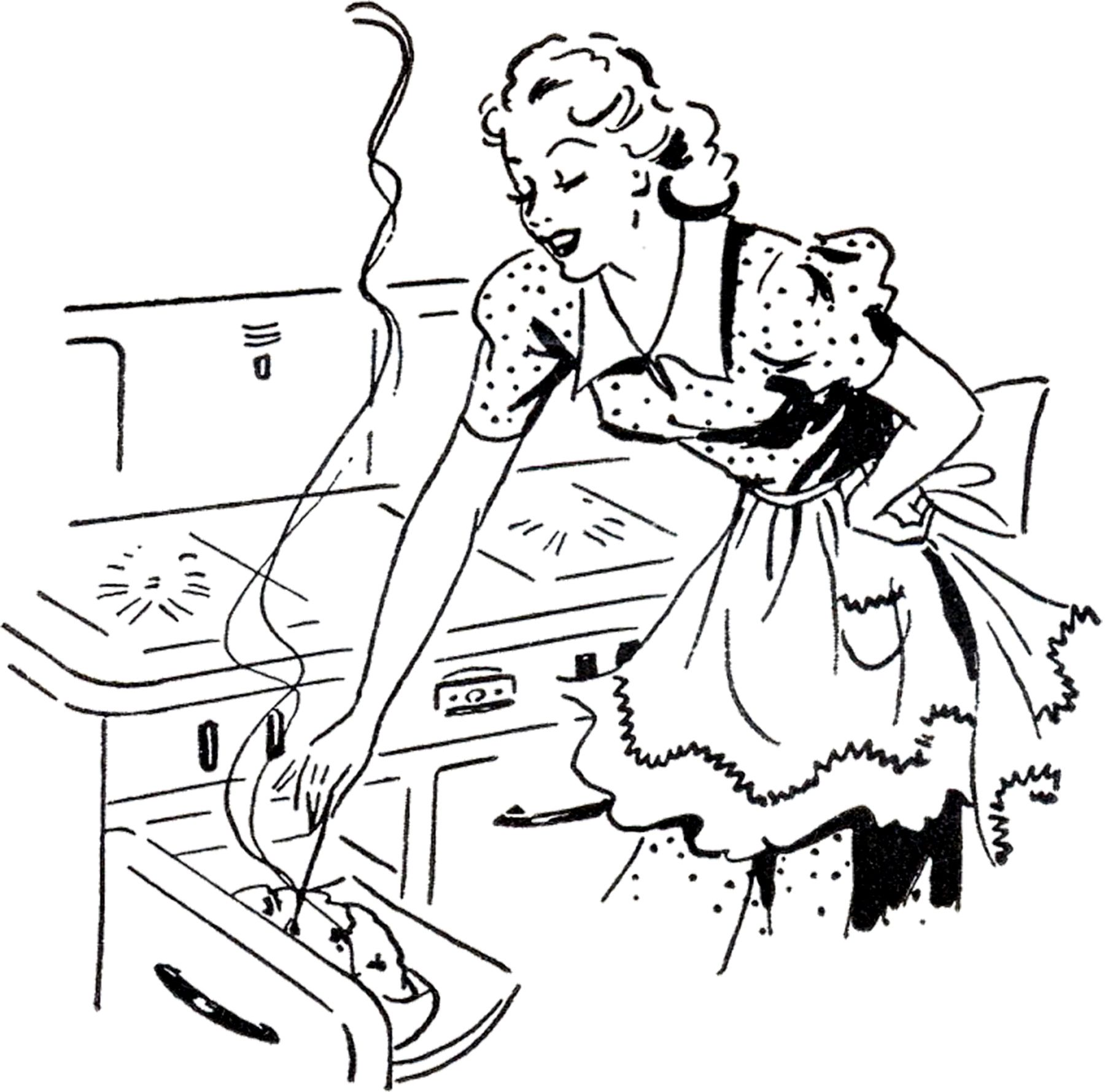 Mom and daughter baking clipart black and white png transparent Adorable Retro Cooking Mom Image! | Embroidery Designs ... png transparent