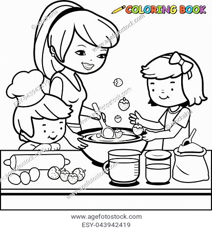 Mom and daughter baking clipart black and white picture black and white download Mother Cooking Drawing at PaintingValley.com | Explore ... picture black and white download