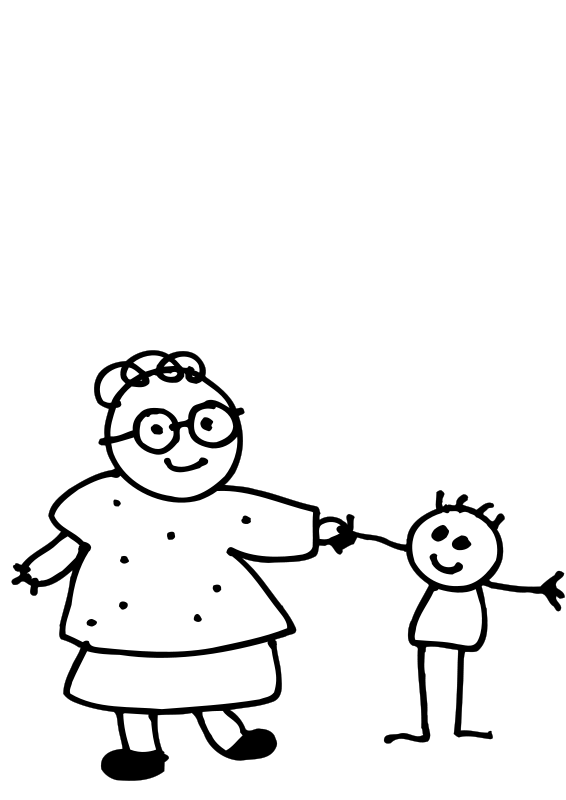 Mom and kid in car clipart graphic library Free Clipart: Mom holding childs hand - outline | Objects | clip art ... graphic library