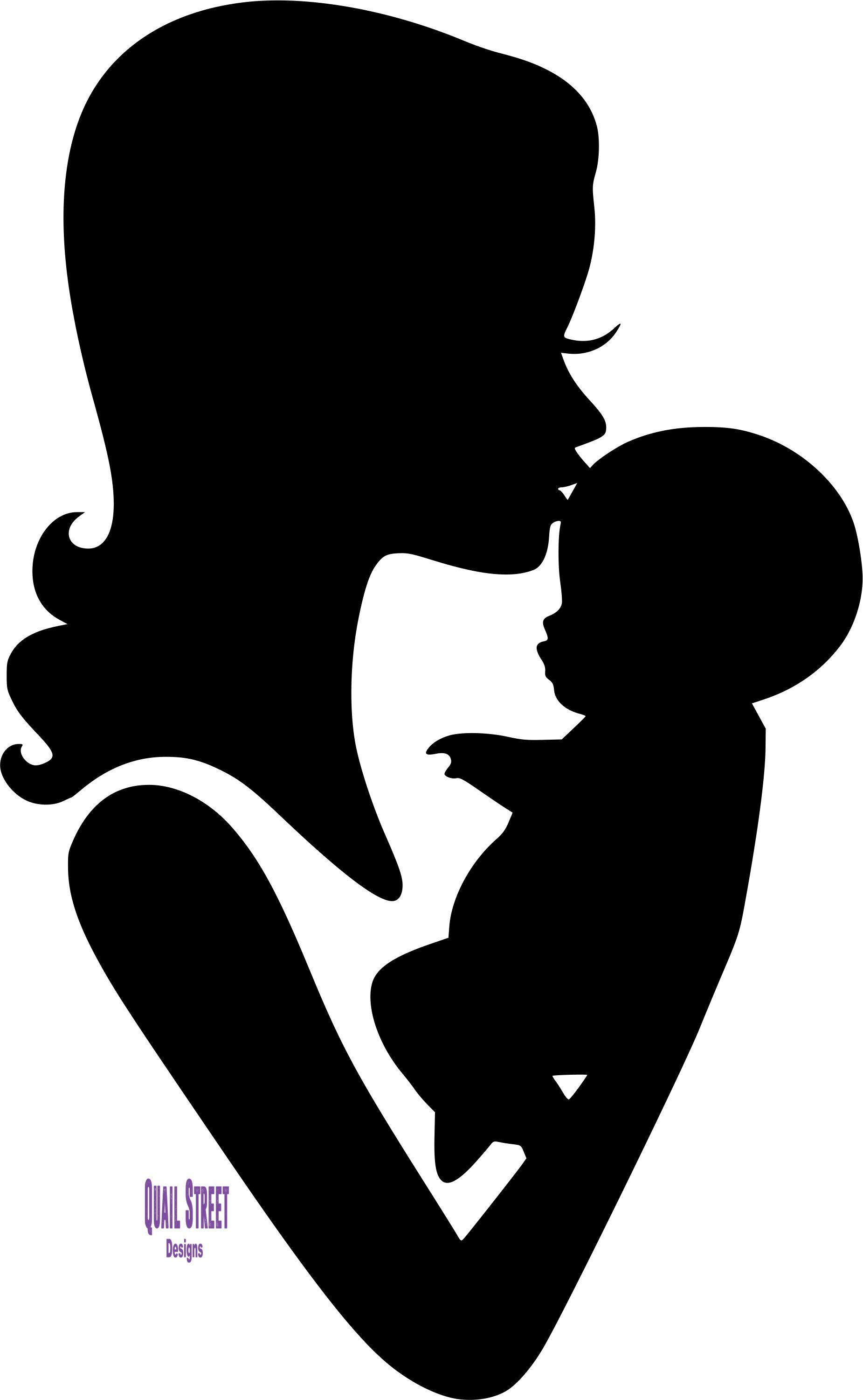 Mom and dad kisses clipart svg library Mom and Baby Forehead Kiss Silhouette Vinyl Decal   Mother ... svg library