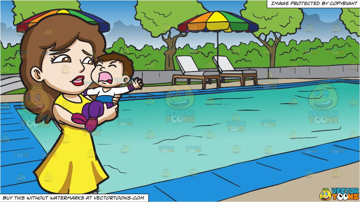 Mom and son swimmingl clipart clipart black and white A Mom Carrying Her Crying Son and A Swimming Pool At A Hotel Background clipart black and white