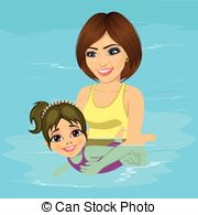 Mom and son swimmingl clipart picture free stock Mom and son swim. Illustration featuring a mother and her ... picture free stock