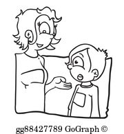 Mom and son talking clipart black and white vector transparent stock EPS Illustration - Black and white mother and daughter ... vector transparent stock