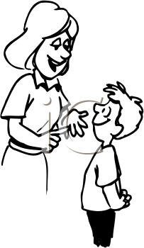 Mom and son talking clipart black and white clip art library library Royalty Free Cartoon Clipart clip art library library