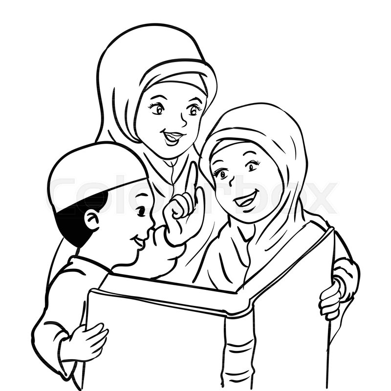 Mom and son talking clipart black and white banner freeuse download Cartoon Muslim Mother with son and ...   Stock vector ... banner freeuse download