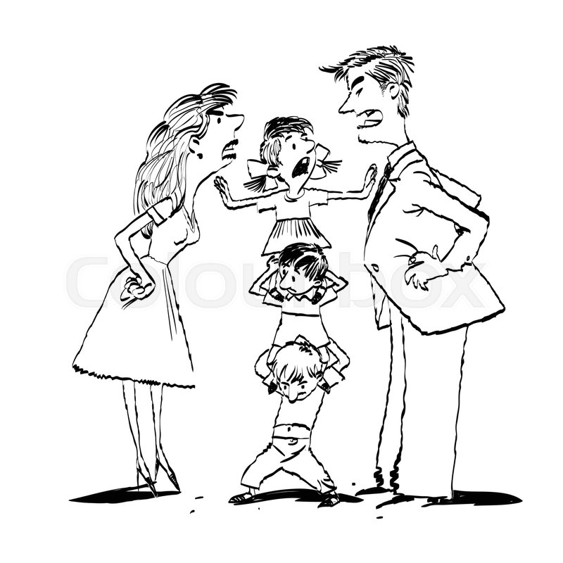 Mom dad family clipart black and white image transparent library Quarrel in the family, mom and dad ... | Stock vector ... image transparent library