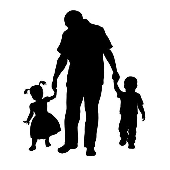 Mom dad son clipart black and white jpg freeuse library Custom Silhouette Print - Father and Children - Perfect for ... jpg freeuse library