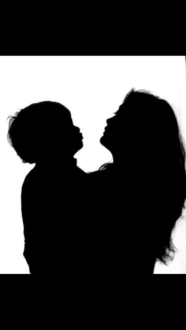 Mom kiss goodbye childblack clipart school and white svg black and white library Silhouette of Mom and Son ready for a kiss. | Photo\'s I Like ... svg black and white library