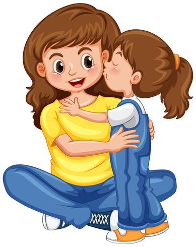 Mommy ad daughter clipart with child hagig her somethig image freeuse library Daughter kissing her mother - Download Free Vectors, Clipart ... image freeuse library