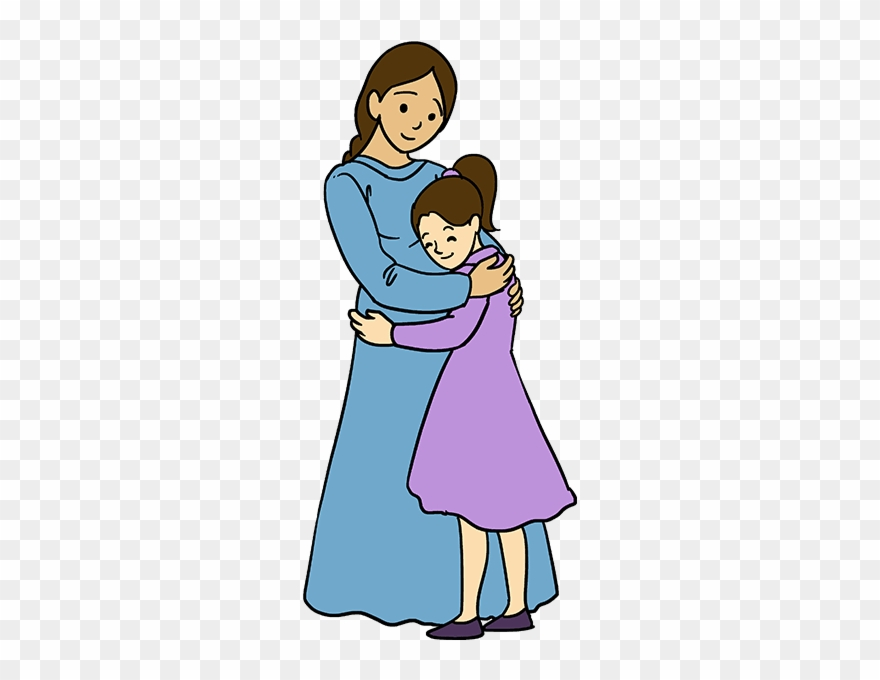 Mommy ad daughter clipart with child hagig her somethig clip black and white download How To Draw Mother Hugging A Daughter - Easy Drawings Of ... clip black and white download