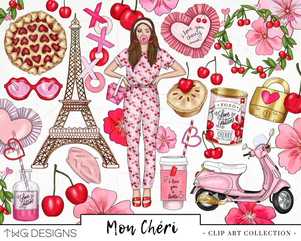 Mon cheri clipart clipart freeuse stock Cherry Love Fashion Girl Clip Art clipart freeuse stock