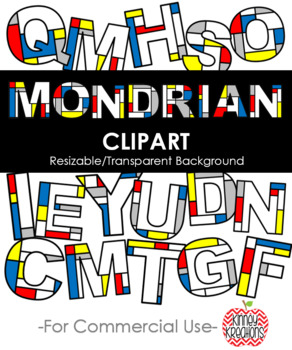 Mondrian clipart clipart free library Mondrian Inspired Clip Art clipart free library