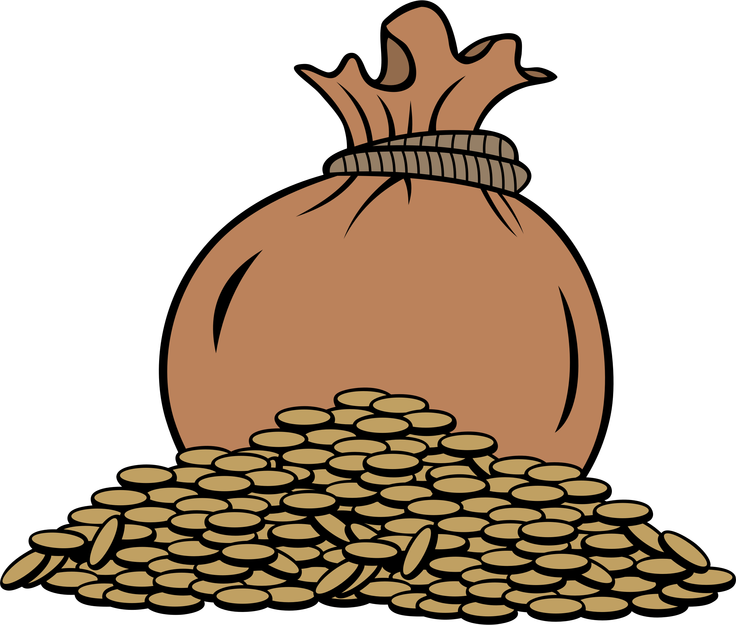 Money bag and coins clipart image black and white Clipart - Bag of gold coins image black and white