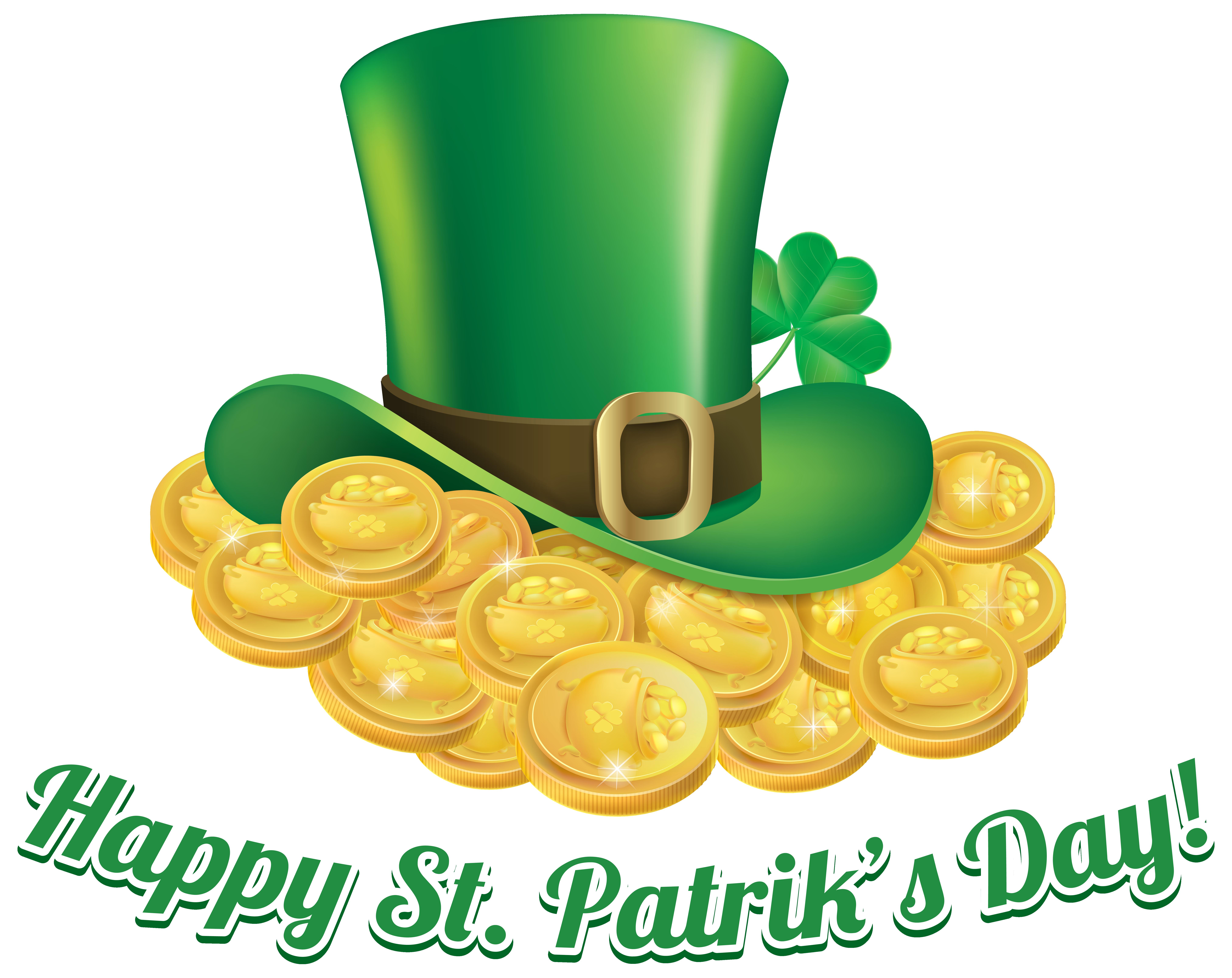 Money hat clipart transparent St Patricks Day Coins and Hat Transparent PNG Clip Art Image ... transparent