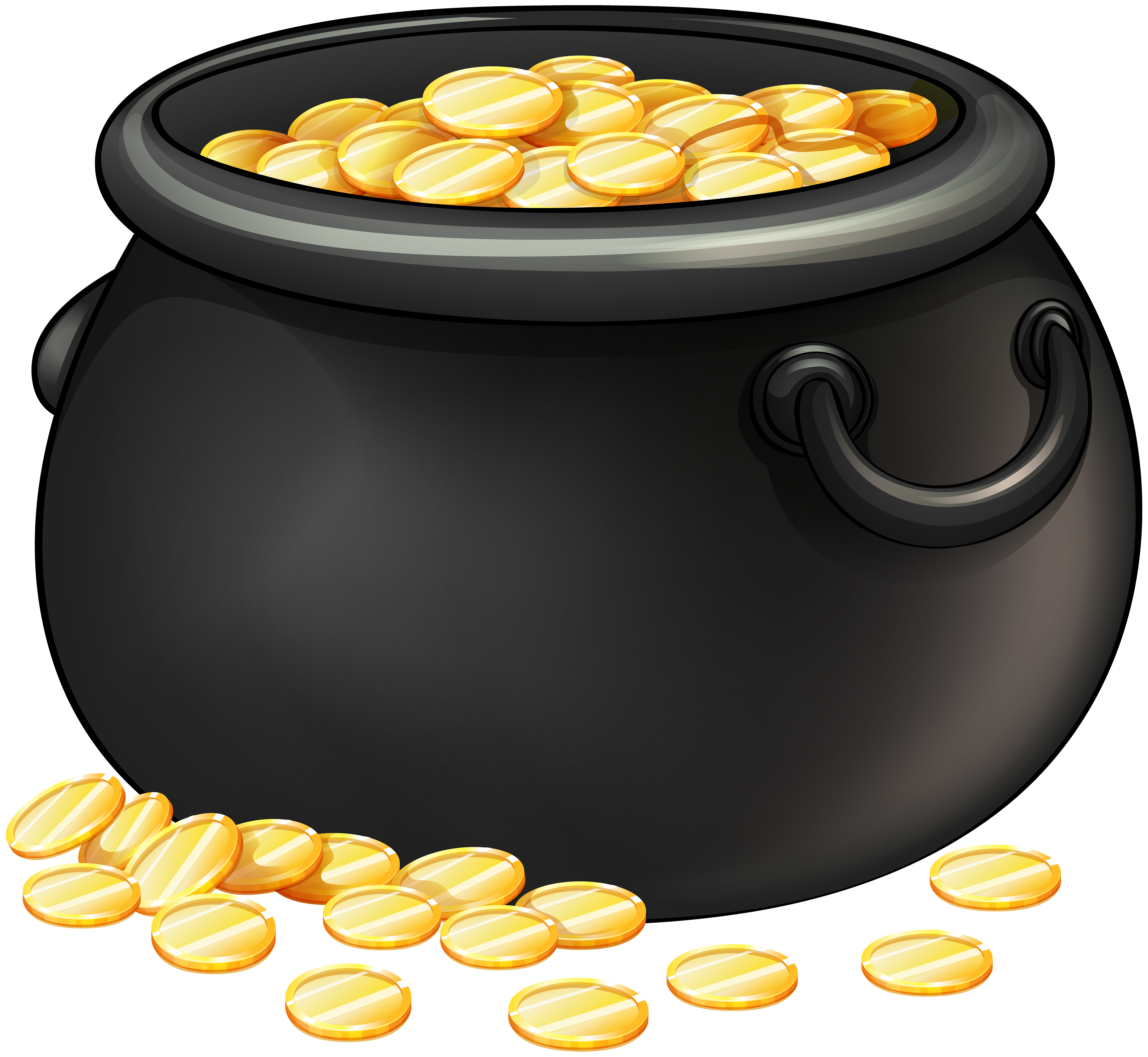 Money food clipart vector black and white download Black Pot of Gold PNG Clip Art | Gallery Yopriceville - High ... vector black and white download