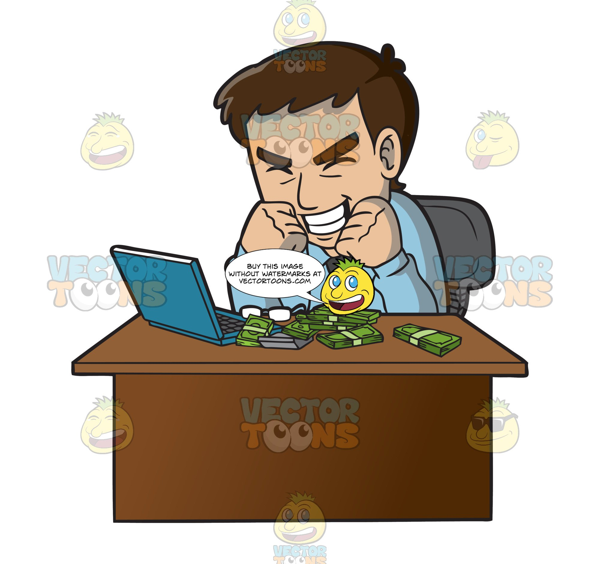 Money making clipart clip art library download An Ecstatic Man Making Money Online clip art library download