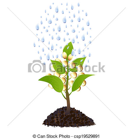 Money plant images clipart freeuse library Stock Illustration of Money plant with rain drops - Money tree ... freeuse library