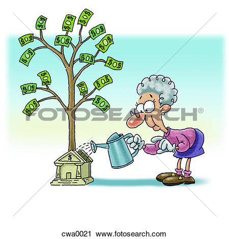 Money plant images clipart stock Clipart of An old woman watering money plant that is growing from ... stock