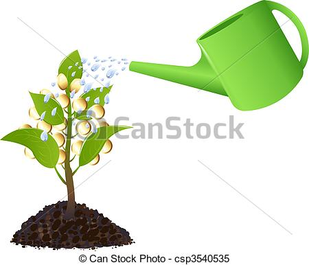 Money plant images clipart royalty free library Clipart Vector of Money plant with watering can - Money tree with ... royalty free library