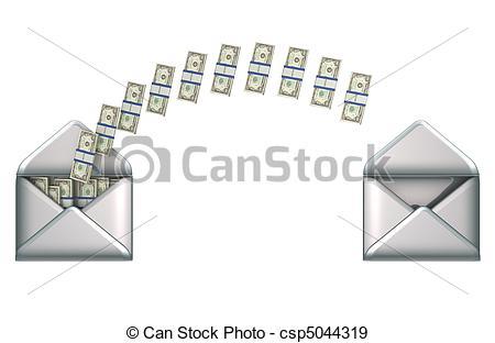 Money transfer clipart image download Stock Illustration of Money transfer - US dollars and 2 envelopes ... image download