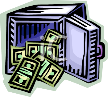 Money vault clipart clipart freeuse Open Safe with Stacks of Money Tumbling Out - Royalty Free Clipart ... clipart freeuse