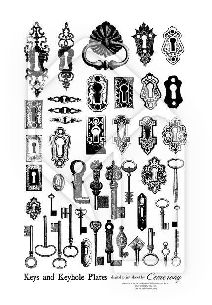 Monk with a set of keys clipart royalty free download Keys and Keyhole Plates Black White Digital Collage Print ... royalty free download