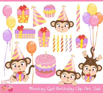Monkey clipart birthday vector transparent stock Monkey Clipart Birthday Worksheets & Teaching Resources | TpT vector transparent stock
