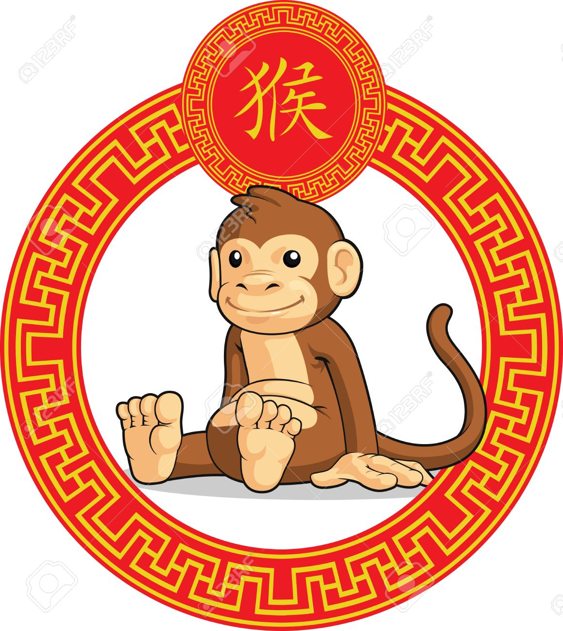 Monkey clipart icon new year vector Clipart chinese new year animals - ClipartFest vector