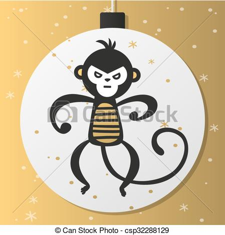 Monkey clipart icon new year banner library download Vector Illustration of Chinese New Year monkey vector decoration ... banner library download
