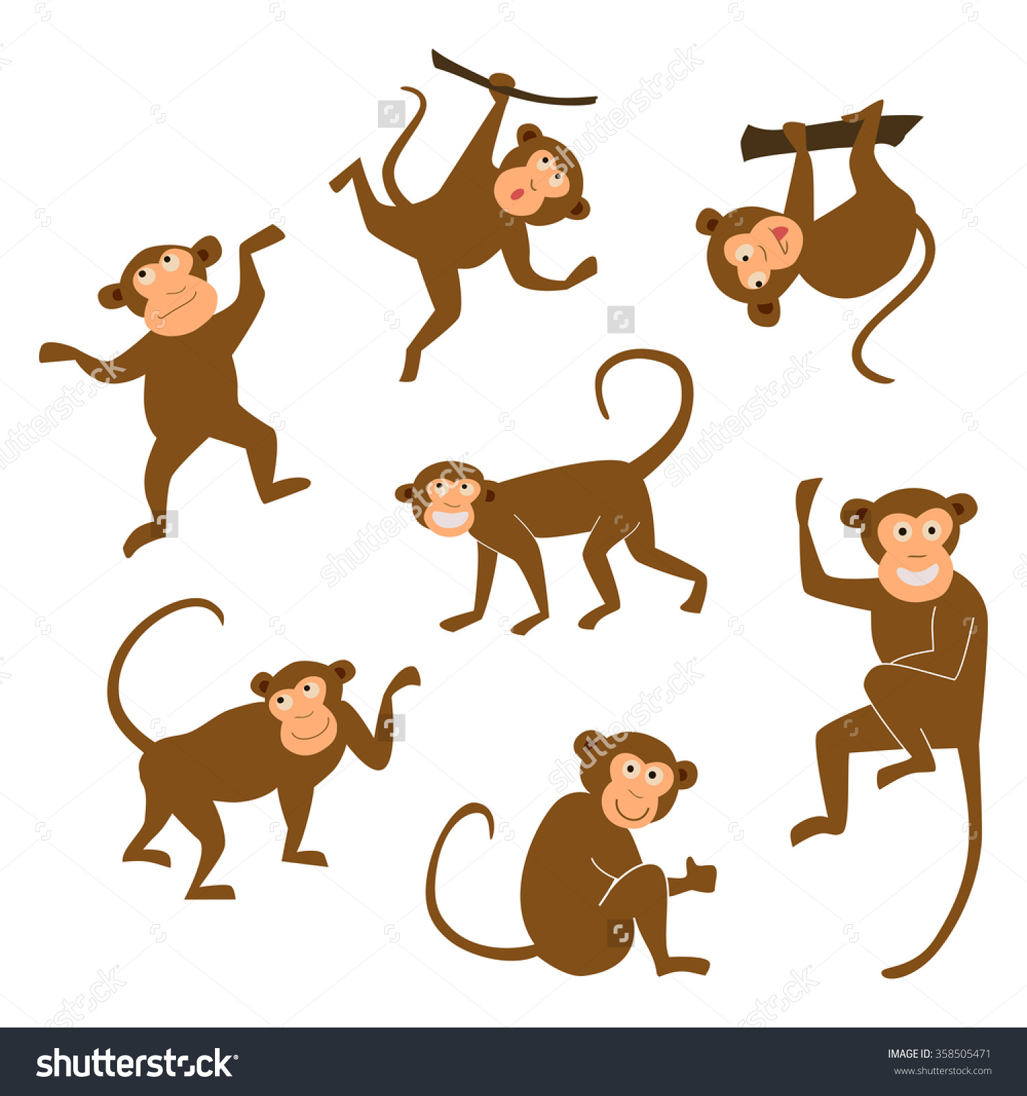 Monkey clipart icon new year clip art free stock Chinese New Year 2016 Monkeys Decoration Stock Vector 358505471 ... clip art free stock